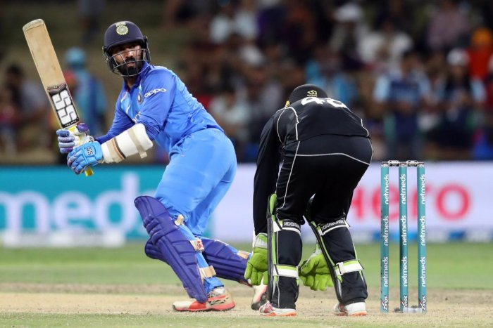 India's Dinesh Karthik raised a few eyebrows by refusing a single to Krunal Pandya in the final over of the final T20I against New Zealand. India lost the match by four runs. AFP File Photo