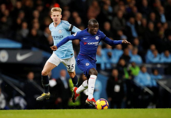 TOUGH TIMES: Chelsea's N'Golo Kante (right) feels his team needs to stay positive to get back on track after the 0-6 drubbing at the hands of Manchester City. Reuters File Photo