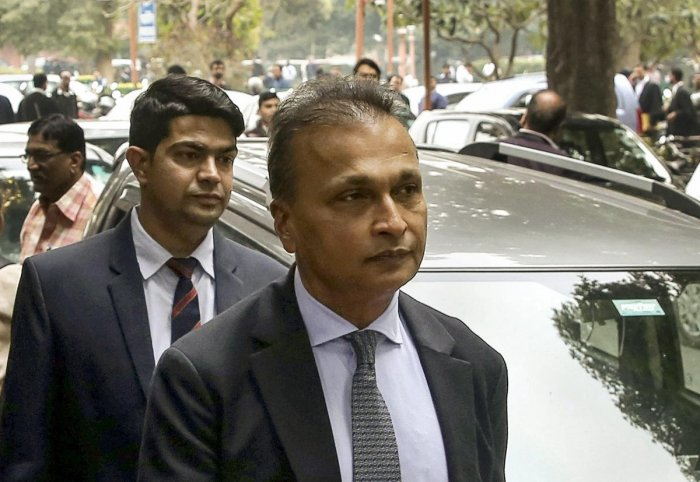 New Delhi: Reliance Communication Ltd (RCom) Chairman Anil Ambani leaves after appearing at the Supreme Court in connection with a contempt petition filed by Ericsson India against him over non-payment of dues, in New Delhi, Tuesday, Feb. 12, 2019. (PTI P