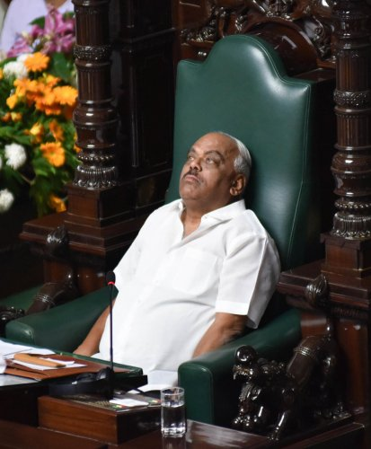 Speaker K R Ramesh Kumar, during a discussion on audiogate, at the Legislative Assembly in Bengaluru on Tuesday. DH Photo
