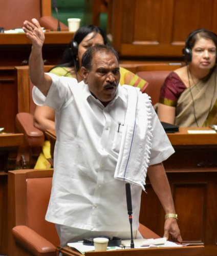 JD(S) member Shivalinge Gowda speaks in the Assembly on Tuesday. dh photo
