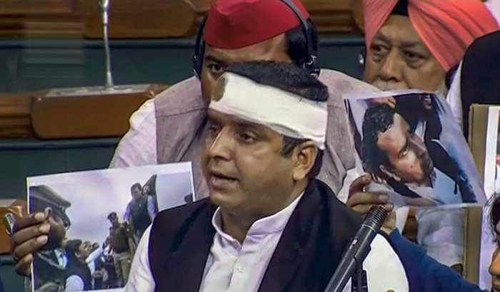 Samajwadi Party MP Dharmendra Yadav speaks in the Lok Sabha during the Budget Session of Parliament in New Delhi, Wednesday, Feb. 13, 2019. (LSTV GRAB/PTI Photo)