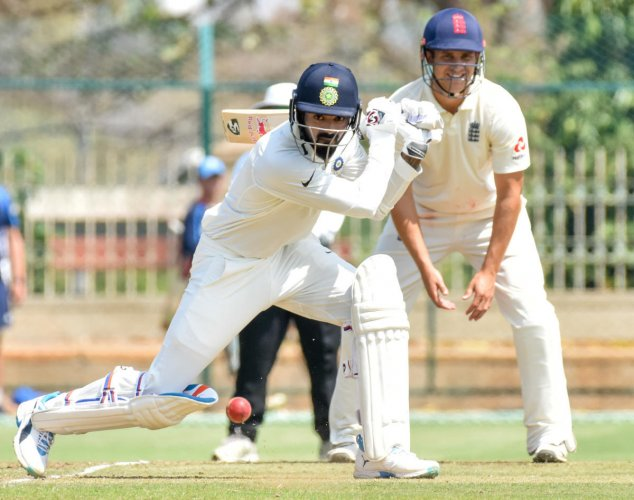 STEADY PROGRESS India A skipper K L Rahul drives one to the fence during his 81 against England Lions on the opening day of the four-day match in Mysuru on Wednesday. DH Photo/ Savitha B R