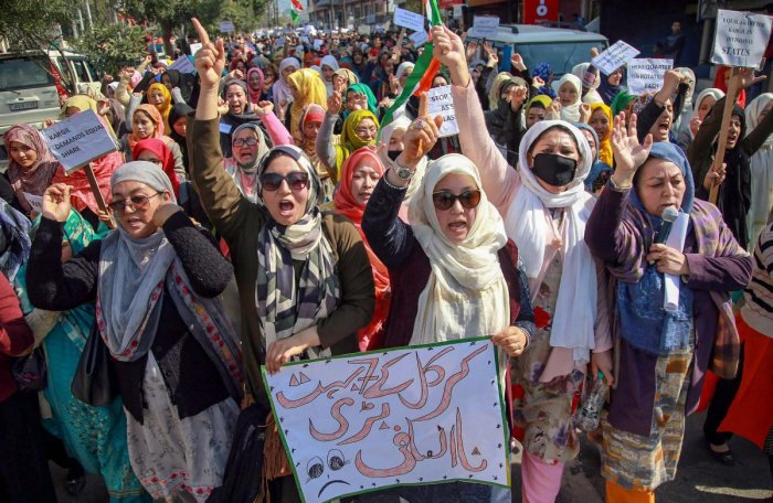 Residents of Kargil district raise slogans during a protest against Leh being made the permanent headquarters of the newly created Ladakh division, in Jammu, Monday, Feb. 11, 2019. (PTI Photo)