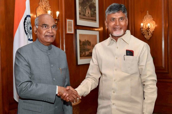 President Ram Nath Kovind meets Andhra Pradesh Chief Minister N Chandrababu Naidu at Rashtrapati Bhavan, in New Delhi, Tuesday, Feb. 12, 2019. (PTI Photo)