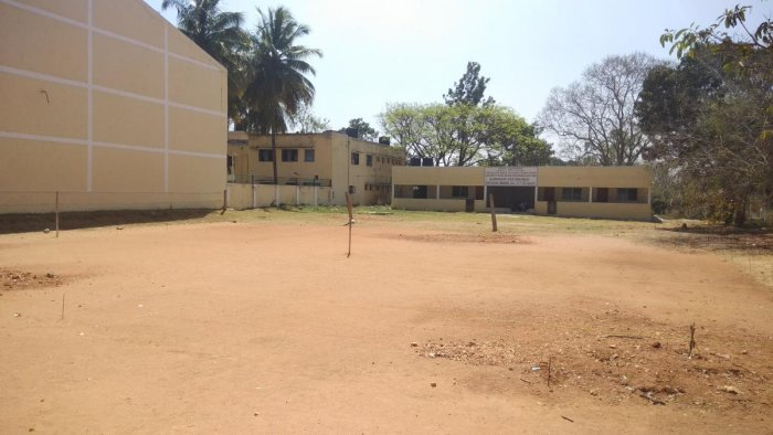 The land on the premises of the department of Physical Education and Sports Science, in Manasaganothri, identified for construction of the Yoga Hall, in Mysuru.