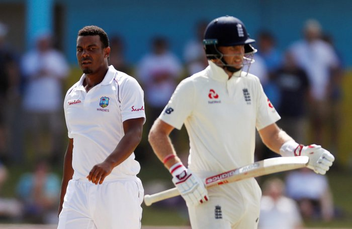 West Indies' Shannon Gabriel (left) extended an unreserved apology for his interaction with Joe Root during the third Test in St Lucia. REUTERS