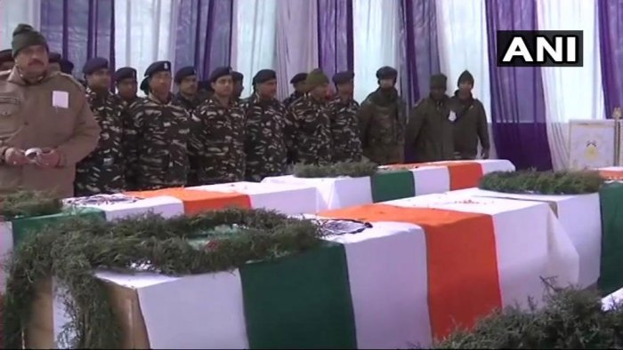 The CRPF swore to avenge the jawans who were killed in the suicide attack. ANI/Twitter photo.
