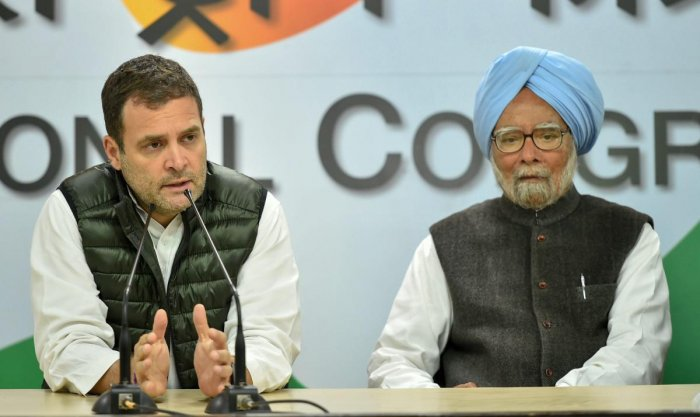 Congress President Rahul Gandhi addresses a press conference to condemn Pulwama terror attack, in New Delhi, on Friday. Former prime minister Manmohan Singh is also seen. (PTI Photo)