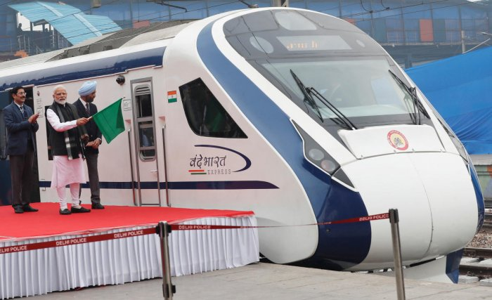 India's Prime Minister Narendra Modi flags off India's fastest train 'Vande Bharat Express' at a ceremony in New Delhi, India on Friday. (REUTERS)