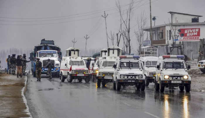 Lathepora: Security forces cordon off the site of suicide bomb attack at Lathepora Awantipora in Pulwama district of south Kashmir, Thursday, February 14, 2019. At least 30 CRPF jawans were killed and dozens other injured when a CRPF convoy was attacked.