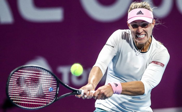 FIERCE: Angelique Kerber of Germany returns during her Qatar Open quarterfinal match against Barbora Strycova of the Czech Republic. AFP