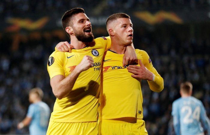 Chelsea's Ross Barkley (right) celebrates after scoring against Malmo FF in the first leg of the last-32 encounter on Thursday. Reuters