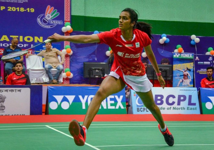 BATTLING WIN: P V Sindhu en route to her win over Ashmita Chaliha in the semifinal of the National Badminton Championships in Guwahati on Friday. PTI