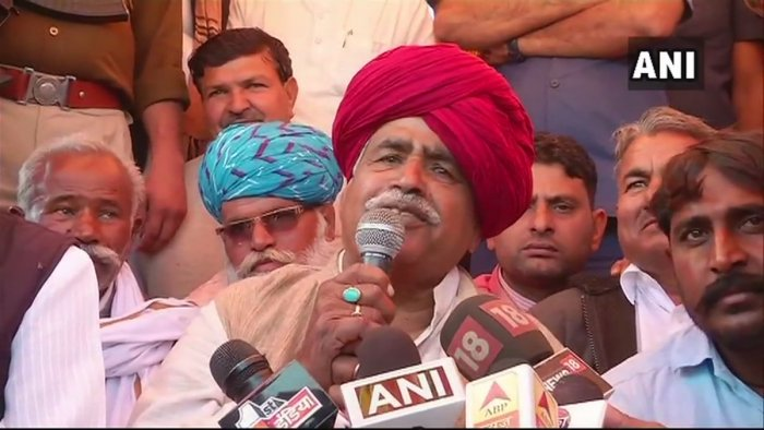 Over a week-long dharna led by Kirori Bainsla on railway tracks and highways had inconvenienced travellers. (Image: ANI/Twitter)