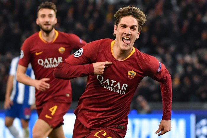 Roma's midfielder Nicolo Zaniolo celebrates after opening the scoring against FC Porto in Rome on Tuesday. AFP