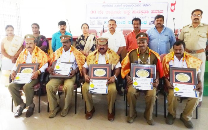 Drivers recognised for accident free driving were felicitated during the National Road Safety Week programme in Madikeri.