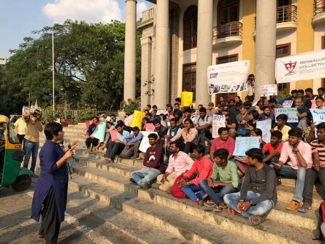 Neenu Suresh, a research scholar of National Law School (NLS) and a member of the Bengaluru Collective addressing the protesters. Event was organized by The Student Outpost and the Bengaluru Collective at Town Hall in Bengaluru on Saturday evening.