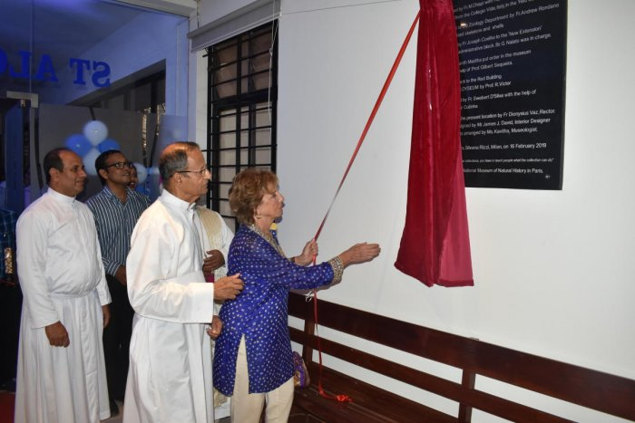 Silvana Rizzi from Italy, a relative of painter Antonio Moscheni, inaugurates the restored paintings at St Aloysius Chapel in Mangaluru on Saturday.