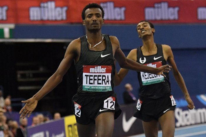 Samuel Tefera wins the 1500M with an indoor world record on Saturday in Birmingham.