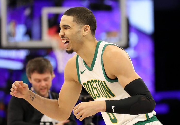 CHARLOTTE, NORTH CAROLINA - FEBRUARY 16: Jayson Tatum #0 of the Boston Celtics celebrates during the Taco Bell Skills Challenge as part of the 2019 NBA All-Star Weekend at Spectrum Center on February 16, 2019 in Charlotte, North Carolina. Streeter Lecka/Getty Images/AFP