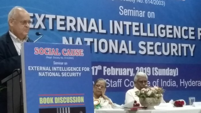 Former Raw Chief Vikram Sood speaking at a Seminar in Hyderabad on Sunday