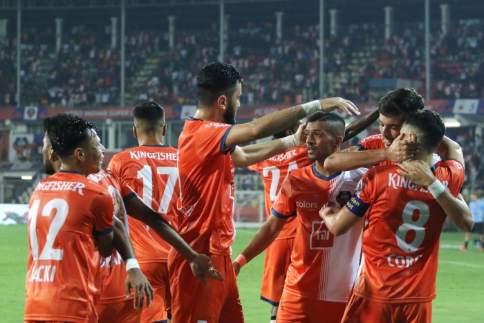 FC Goa players celebrate after beating Kerala Blasters on Monday. Twitter