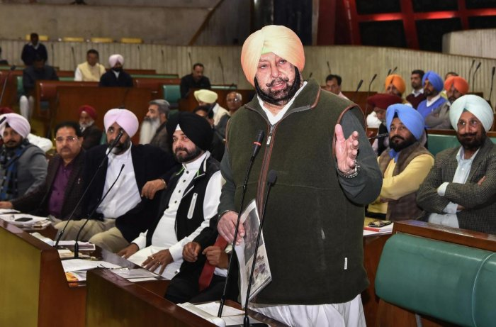 Punjab Chief Minister Captain Amarinder Singh condemns Thursday's Pulwama terror attack in the state Assembly in Chandigarh, on February 15, 2019. PTI