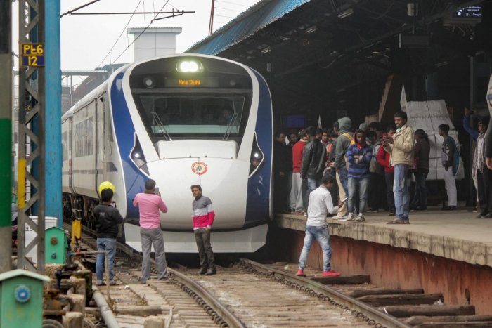 Vande Bharat Express, India's first semi-high speed train, arrives back from Varanasi after its inaugural run at New Delhi Railway Station, Saturday, Feb. 16, 2019. Vande Bharat Express ran into some trouble early Saturday while returning to Delhi from Va