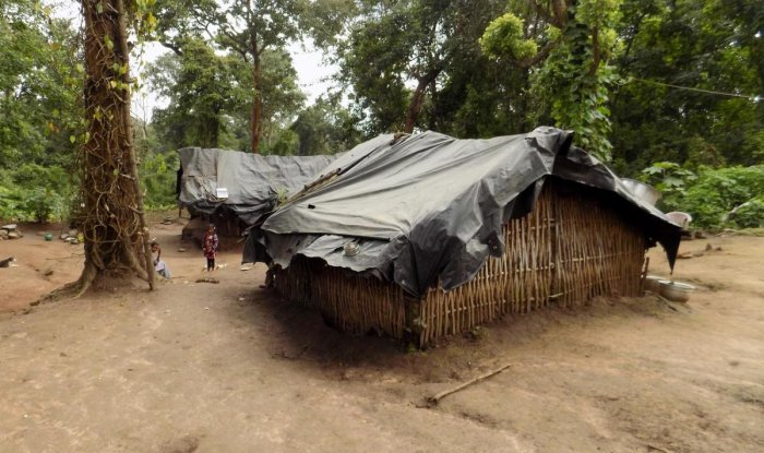 Huts in the Devarapura tribal hamlet in Gonikoppa.