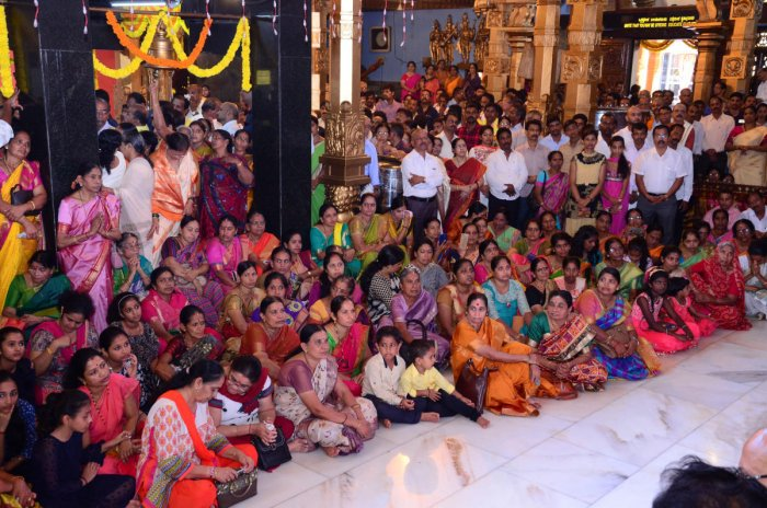 A large number of devotees witness Brahmakalashotsava at Kudroli Sri Gokarnanatha temple in Mangaluru on Sunday.
