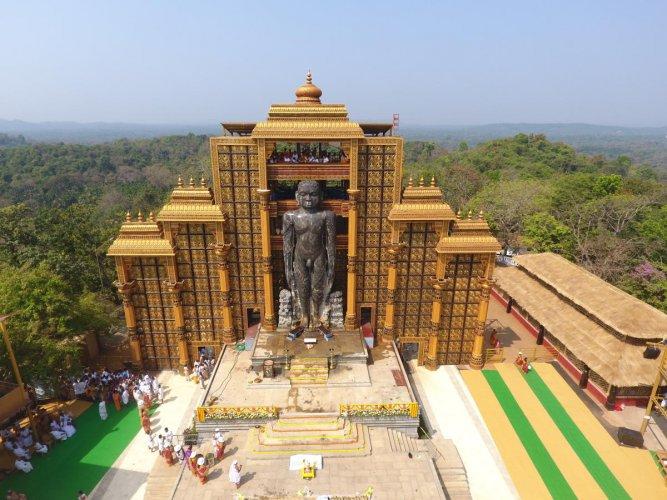 A view of Mahamastakabhisheka of Bhagwan Bahubali clicked from a drone camera at Dharmasthala on Sunday.
