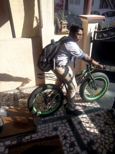 B S Nikhil eloped after parking his bicycle, informing the guard to take care of it until he returns from Hyderabad in three days.
