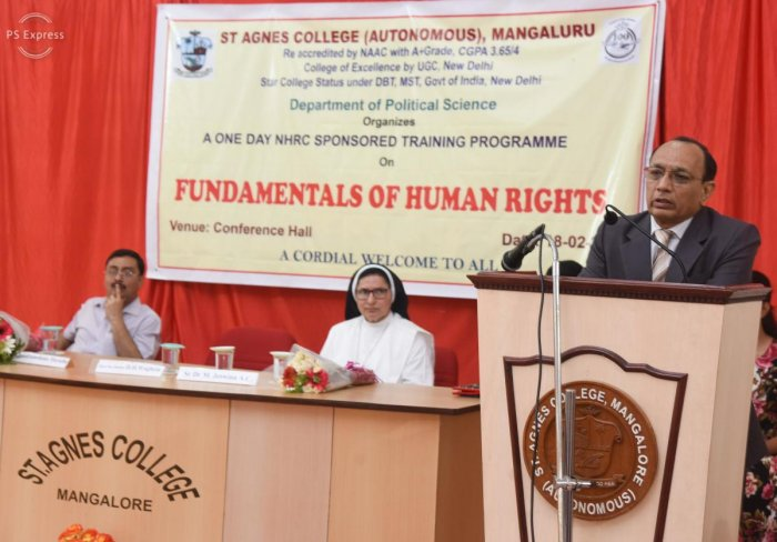 Karnataka State Human Rights Commission (KSHRC) Chairman Justice D H Waghela speaks after inaugurating a day-long training programme on 'Fundamentals of Human Rights,' held at St Agnes College (Autonomous) in Mangaluru on Monday.