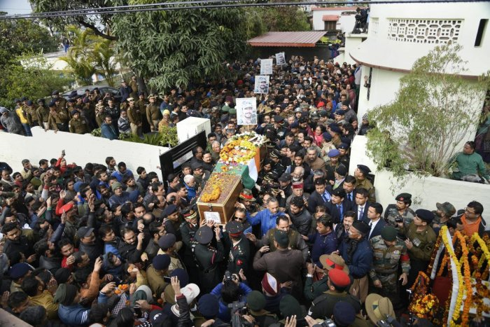 Army personnel and people gather around the mortal remains of Major Vibhuti Shankar Dhoundiyal, who lost his life in Pulwama encounter with Jaish-e-Mohammed (JeM) terrorists, to pay their last respects to him ahead of his funeral, in Dehradun. PTI file photo.