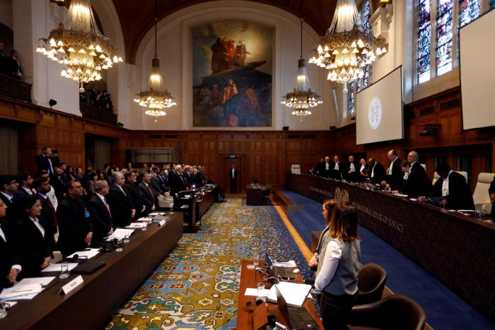Judges are seen at the International Court of Justice during the final hearing in the Kulbhushan Jadhav case in The Hague, the Netherlands, February 18, 2019. REUTERS/Eva Plevier