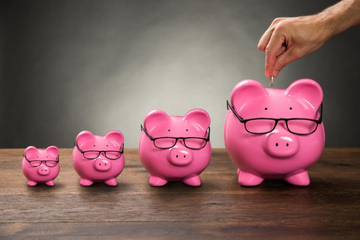 Close-up Of Person Hand Inserting Coin In Pink Piggybank On TableMutual fund