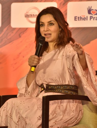 Bollywood actor Tisca Chopra speaks at the Knowledge Factory in Bengaluru on Saturday. DH PHOTO/JANARDHAN B K