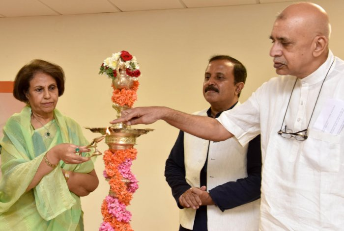 Promodadevi Wadiyar inaugurates the Indian Medical Heritage Day on Tuesday. Giridharan R, Registrar, Trans Disciplinary University, and Darshan Shankar, Managing Trustee, Foundation for Revitalization of Local Health Traditions, are seen. (DH Photo/B H Shivakumar)