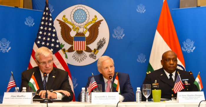 (Left to right) US Deputy Under Secretary of Defence Alan Shaffer, US Ambassador Kenneth Juster, and Lieutenant General Charles Hooper speak about the US participation in Aero India on Tuesday.