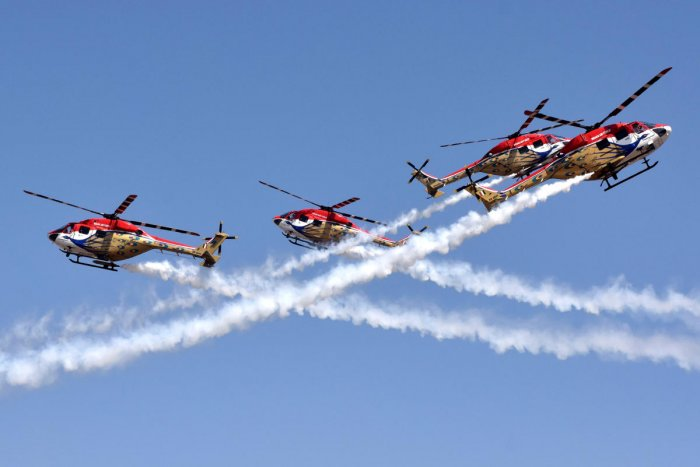 The Sarang helicopter team presents a spectacular show on Wednesday.