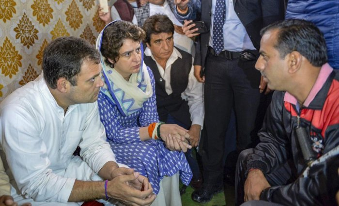 Congress President Rahul Gandhi, his sister and party general secretary Priyanka Gandhi Vadra and party's Uttar Pradesh unit chief Raj Babbar meet the family members of the slain CRPF jawan Pradeep Kumar, who lost his life in the Pulwama terror attack, at his residence in Shamli on Wednesday. PTI