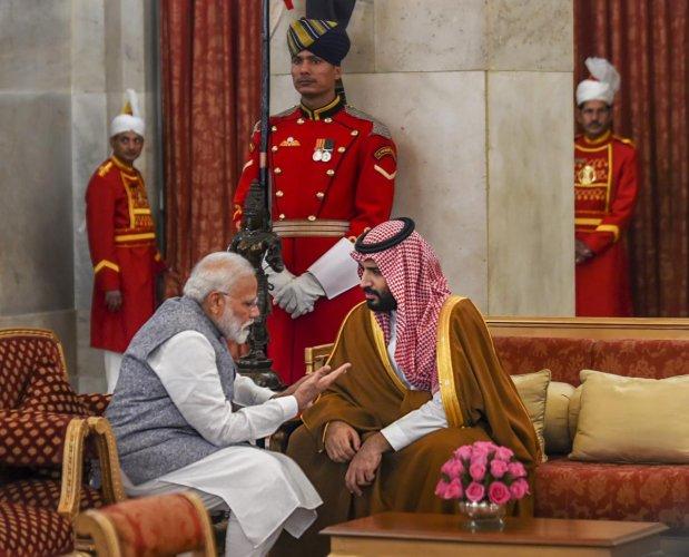 Prime Minister Narendra Modi with Saudi Arabia's Crown Prince Mohammad bin Salman during a banquet at the Rashtrapati Bhavan in New Delhi on Feb 20, 2019. PTI
