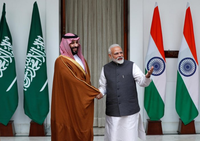 Saudi Crown Prince Mohammed bin Salman shakes hands with Indian Prime Minister Narendra Modi in New Delhi, India, February 20, 2019. REUTERS