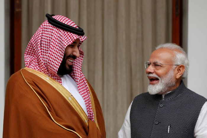 Saudi Crown Prince Mohammed bin Salman and Indian Prime Minister Narendra Modi meet at Hyderabad House in New Delhi on Wednesday. (REUTERS)