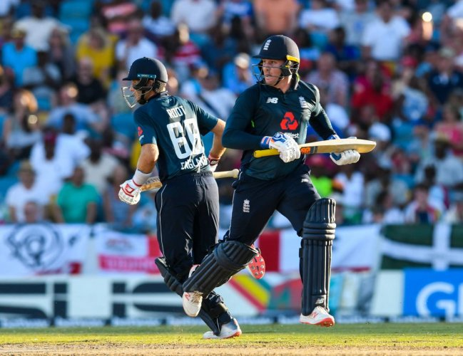 DOUBLE WHAMMY Jason Roy (right) and Joe Root slammed contrasting tons to guide England to six-wicket win over Windies in the first ODI in Bridgetown, Barbados, on Wednesday. AFP