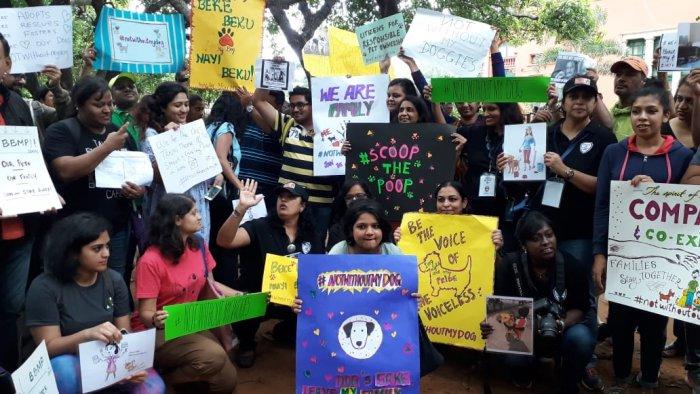 The protest at Cubbon Park