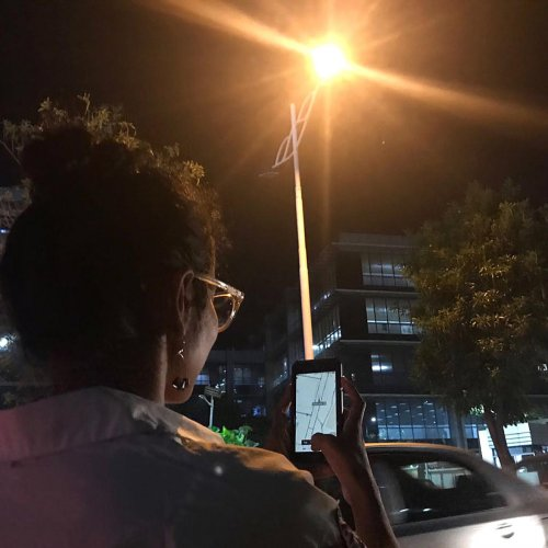 A citizen, Anindita Nayak, updating the status of streetlights using the apps – GoMap! and OpenStreetMap — at Outer Ring Road