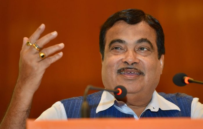 "Union Minister for Road Transport, Highways and Shipping Nitin Gadkari gestures at a function on the occasion of ""International Labour Day"" in New Delhi on Tuesday. PTI Photo"