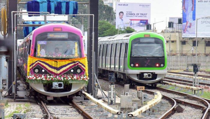 One of the Six coaches Metro train, start at Byappanahalli Metro station, in Bengaluru on Friday 22.06.2018. Photo/ B H Shivakumar